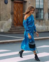 dress,silk dress,boots,midi dress,one shoulder,blue dress,handbag,bracelets