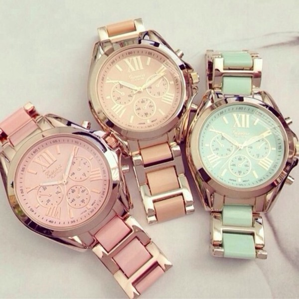 jewels watch gold feminine light blue pink college watch pastel vintage orange montre fashion bijoux bag beautiful jewels weheartit class classy turquoise rose blue michael kors urban pastel pink green brown geneva