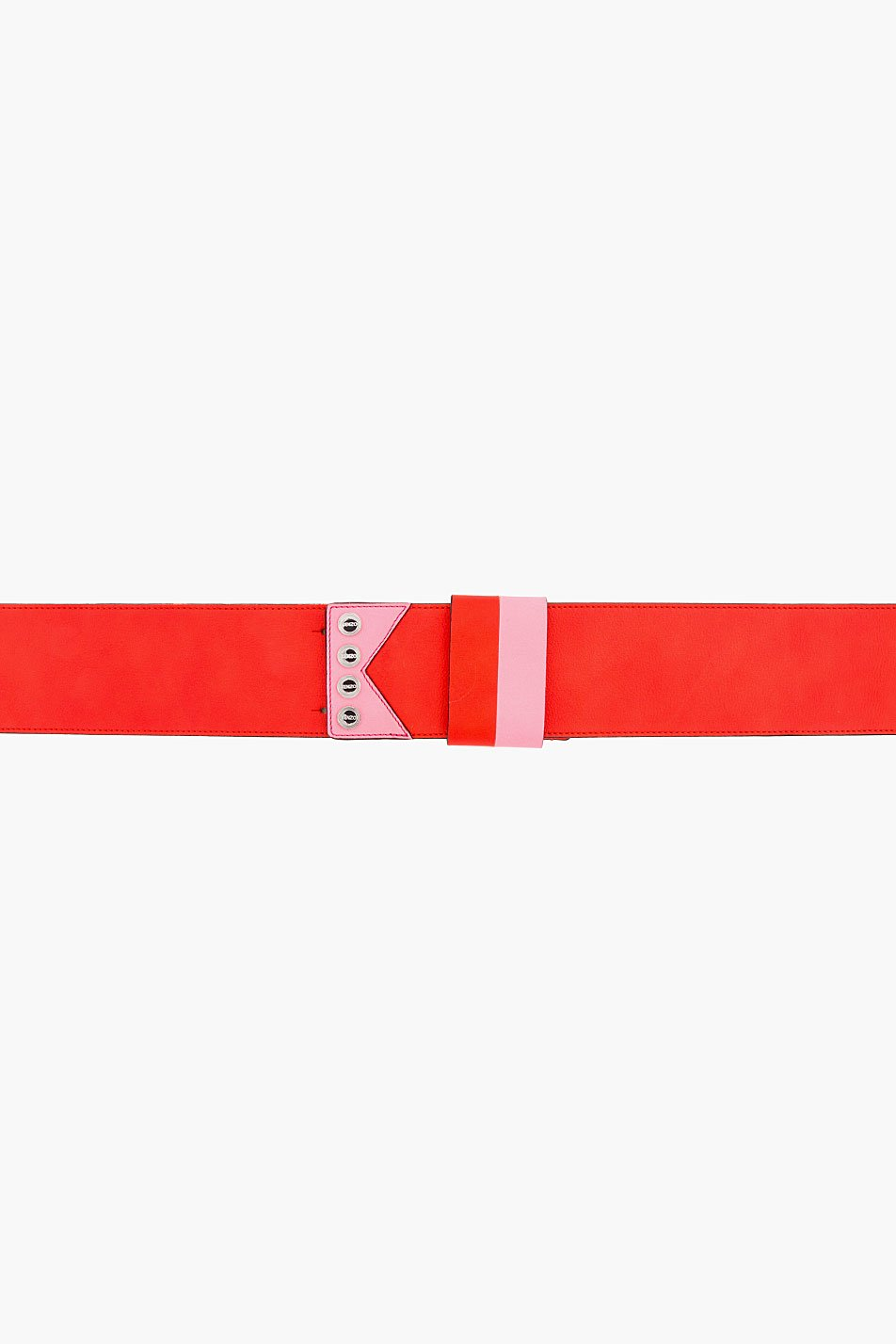 kenzo coral red leather belt