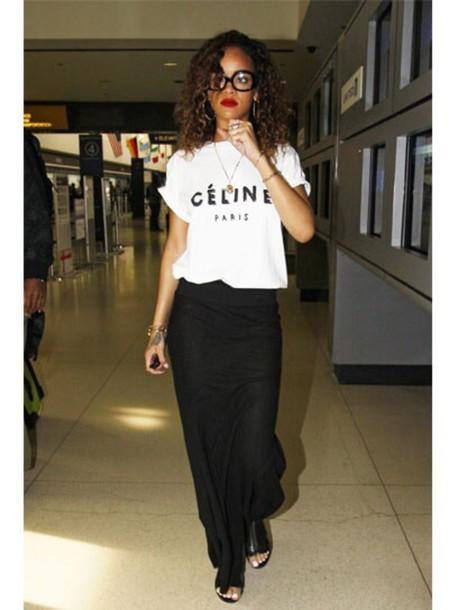 shirt rihanna rihanna celine skirt black dress black skirt glasses open toes maxi skirt maxi dress