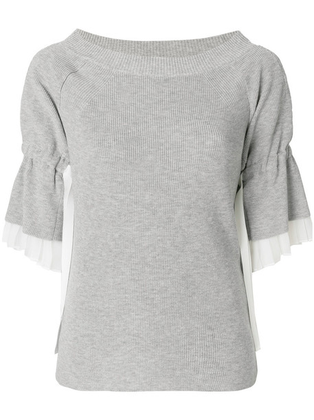Sacai top women cotton knit grey