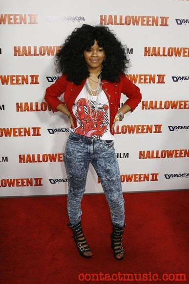 jeans t-shirt jacket red jacket shoes teyana taylor sexy swag girly