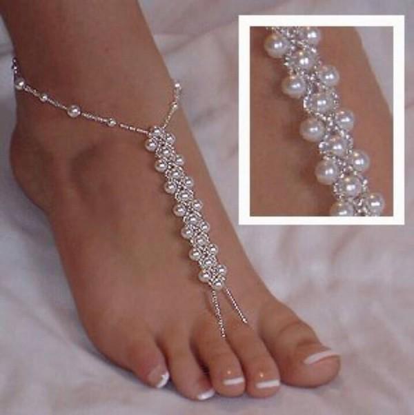 jewels feet pearls barfoot sandals