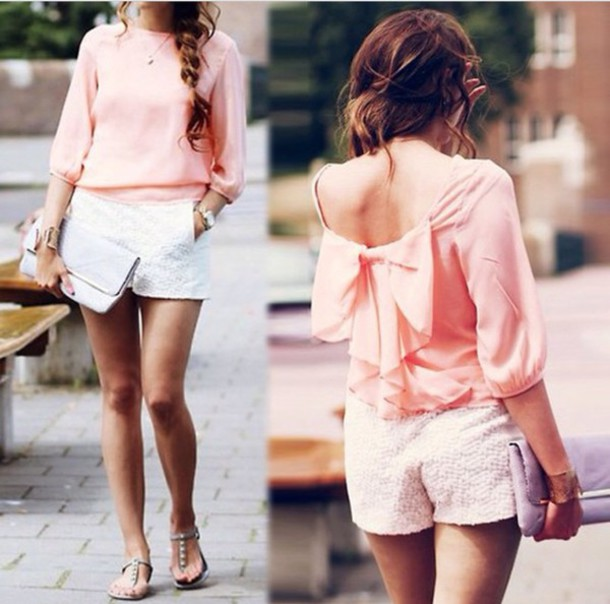 blouse light pink blouse