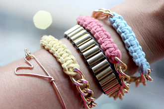 colorful blue yellow pink gold bracelets jewelry stacked bracelets