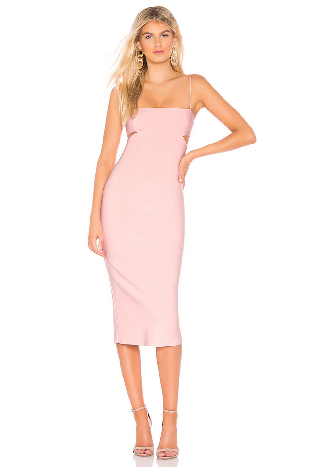 BEC&BRIDGE Cut Out Midi Dress in blush