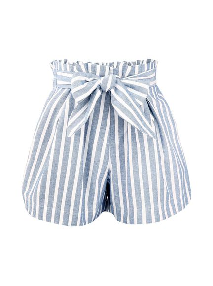 ribbon stripe bowtie high waisted blue and white High waisted shorts