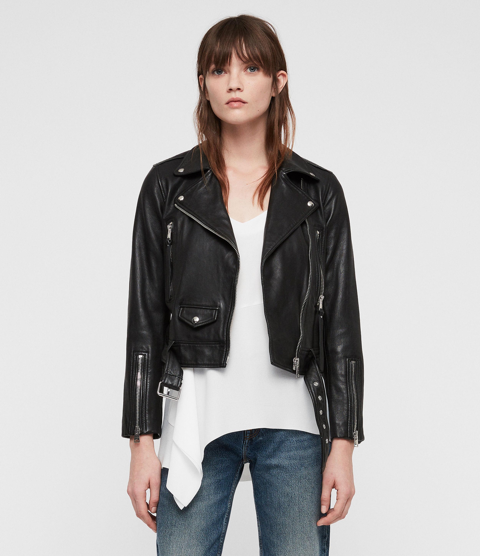 ALLSAINTS UK: Womens Juno Leather Biker Jacket (black)