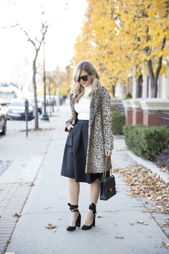 suburban faux-pas blogger jacket skirt shoes sunglasses bag jewels animal print fall outfits black skirt flare skirt chanel bag high heel pumps fur leopard print winter coat midi skirt turtleneck