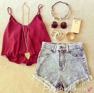 shirt shorts sunglasses hair accessory phone cover jewels