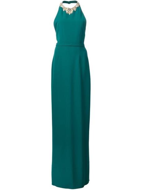 Marchesa Notte gown women embellished green dress