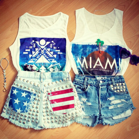 shorts shirt miami cute both colorful spiked american t-shirt sunglasses accessory jeans