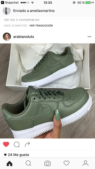 shoes green army green nike sportswear instagram snapchat fashion chic instachic