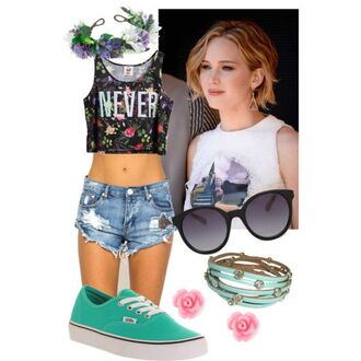 ripped shorts turquoise shoes vans floral crop top floral headband