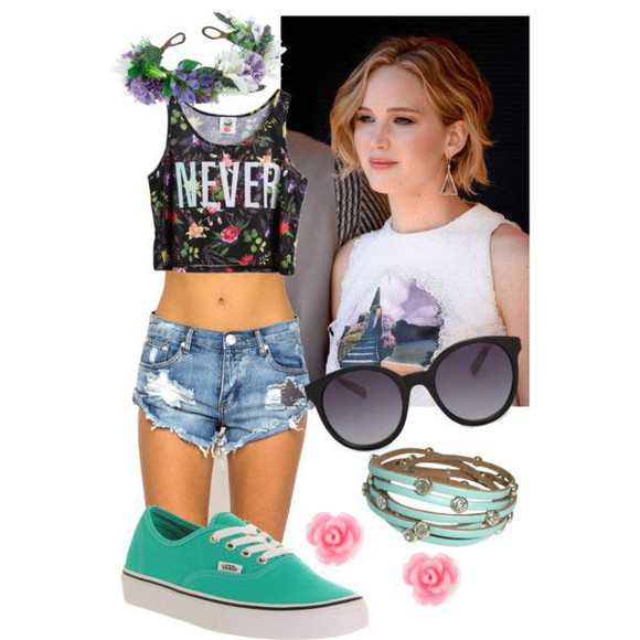 floral headband ripped shorts turquoise shoes vans floral crop top
