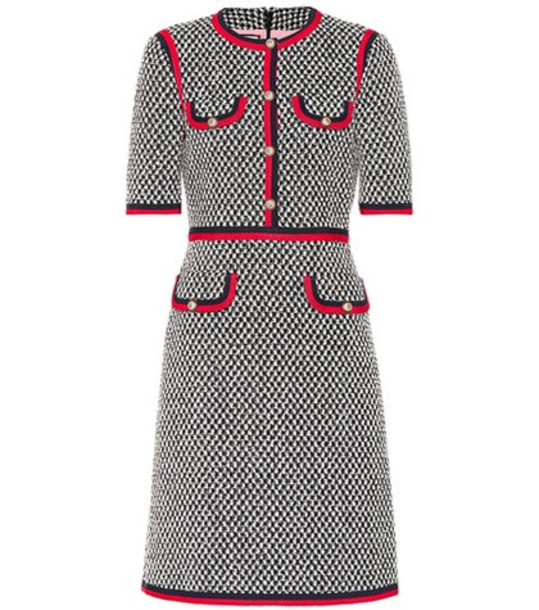 Gucci Web-trimmed cotton dress in grey
