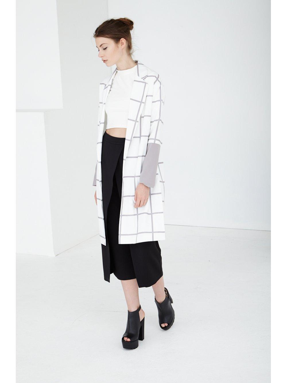 White & Grey Grid Print Duster Coat | Coats | Outerwear | Lavish Alice