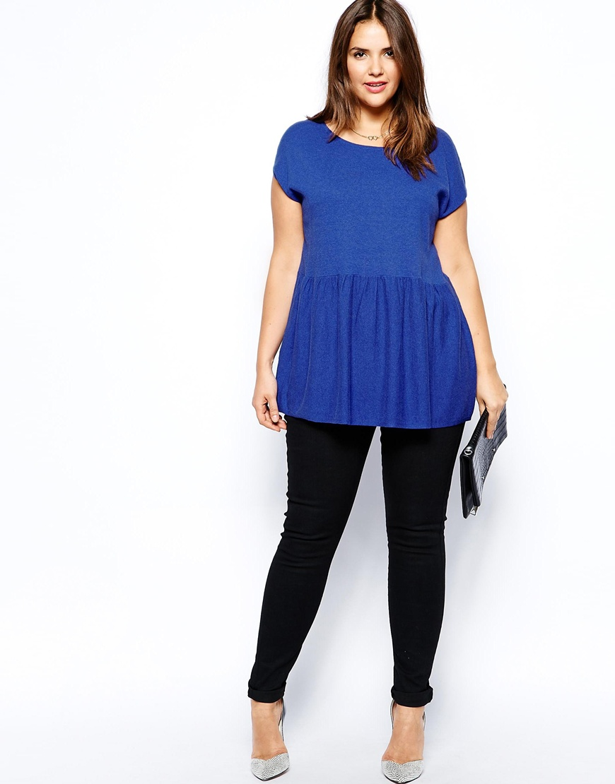 ASOS CURVE Exclusive Knitted Peplum Top at asos.com
