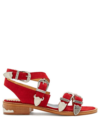 cross sandals suede red shoes