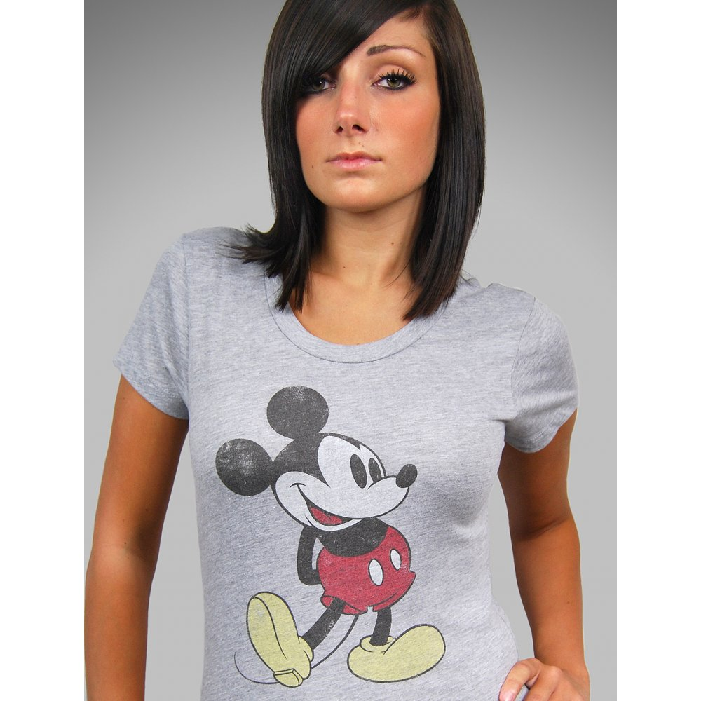 Mighty fine ladies grey retro mickey mouse t shirt, heather grey