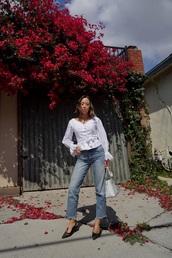 blouse,top,white top,blue jeans,shoes,black shoes,slingbacks,bag,transparent bag,white blouse,jeans,denim