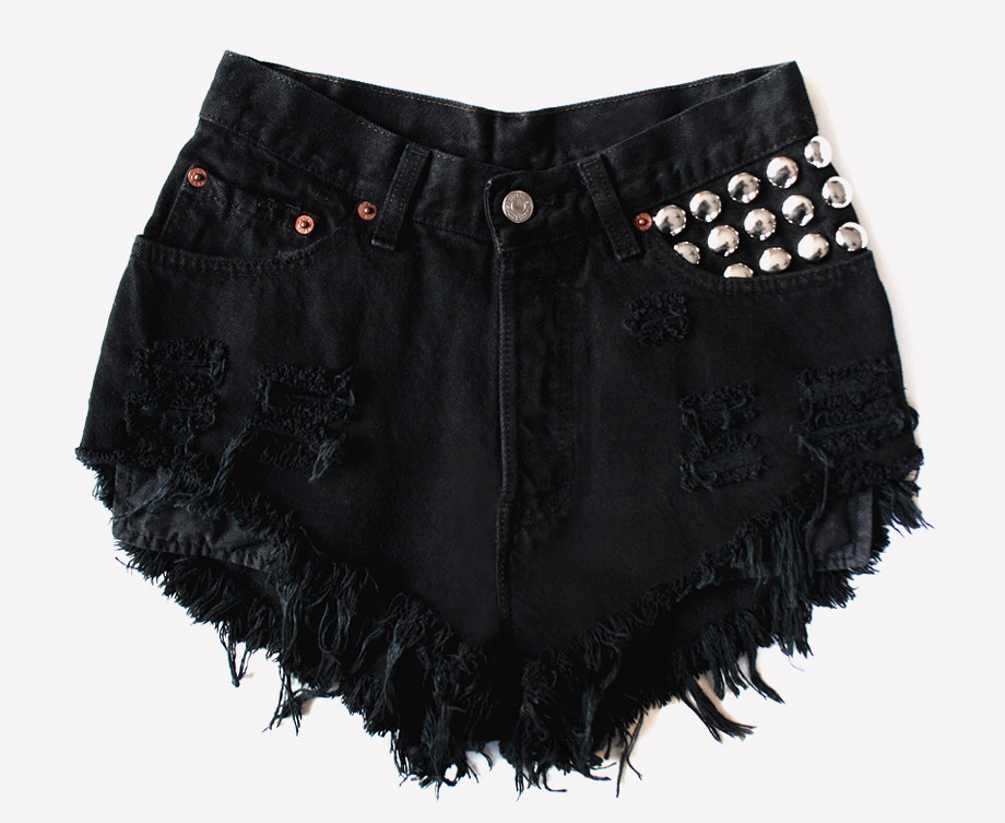 450 Black Frayed Studded Shorts | RUNWAYDREAMZ
