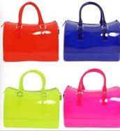 bag,red,blue,green,pink jelly handbag,FURLA  jelly handbags
