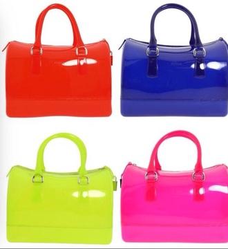 bag red blue green pink jelly handbag furla  jelly handbags