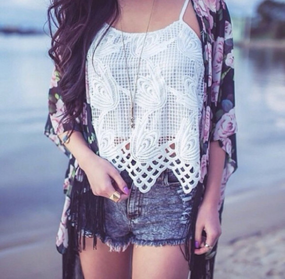 details top fashion white tank top cardigan