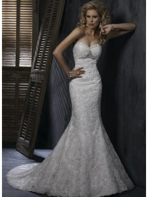 Buy Graceful White Trumpet/Mermaid Sweetheart Neckline Wedding Dress under 400-SinoAnt.com
