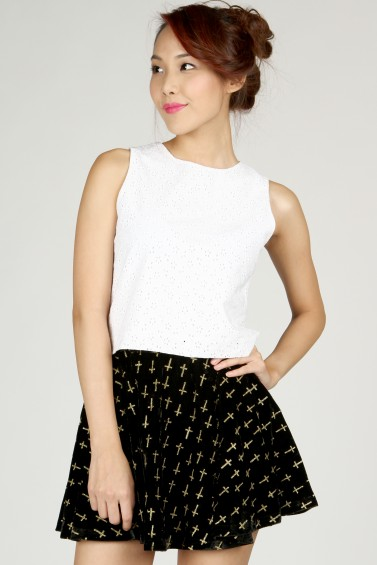 Velvet Skater Skirt (Black & Gold) - DRMERS