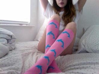 underwear knee high socks shoes socks odd future dolphins tumblr pink blue sock girl of