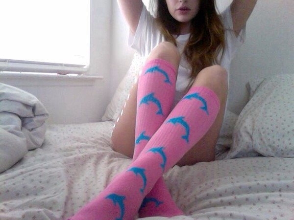 underwear knee high socks shoes socks odd future dolphins tumblr pink blue sock girl of odd future