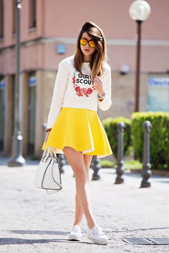 blouse yellow skirt outfit spring choies blogger