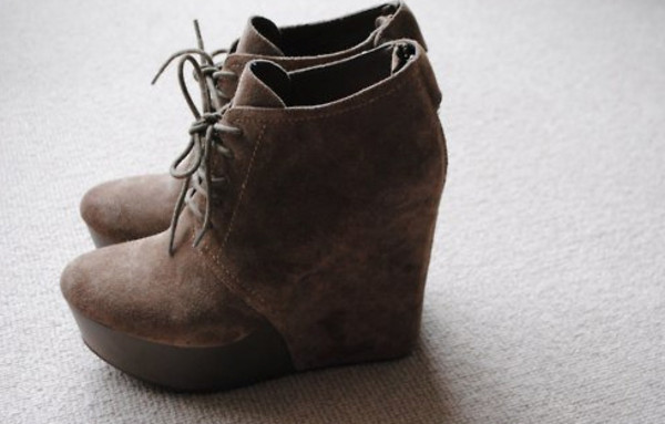 rock vintage shoes wedges brown boots