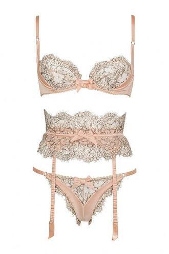 underwear pale pink lingerie bra panties cute floral nude bow straps lingerie set bridal lingerie