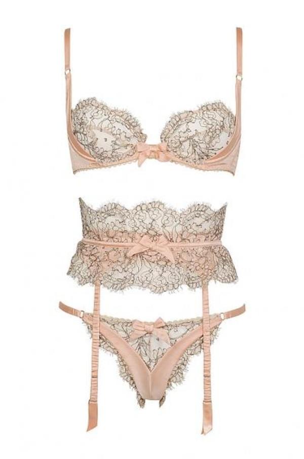 underwear pale pink lingerie bra panties cute floral nude bow straps lingerie set bridal lingerie sexy lingerie