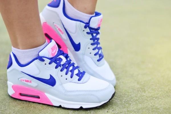 Nike wmns Air Max 90 (GS) (White Hyper Blue Digital Pink