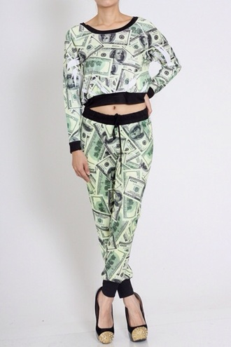 jumpsuit two-piece sweatsuit money fashion hoodie