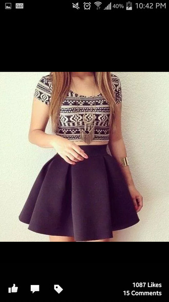 aztec crop top black and white