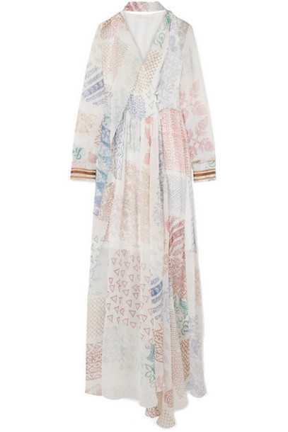 Chloé Chloé - Printed Silk-chiffon Gown - White