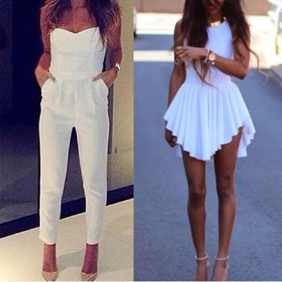 white top skinny pants denim pants shoes t-shirt white dress mini dress summer outfits sexy dress prom dress night party dress sun white pants skinny dress style glam Long shevele playsuit playsuit, jumpsuit, dungaree, thecarriediaries, carrie