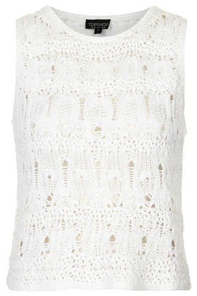 Sleevless Crochet Stitch Crop - Topshop USA