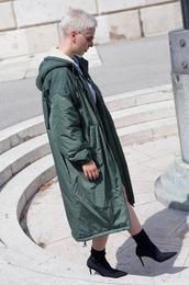 coat,tumblr,parka,green coat,long coat,oversized,oversized coat,boots,black boots,high heels
