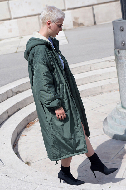 coat tumblr parka green coat long coat oversized oversized coat boots black  boots high heels dd5cf3994691