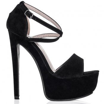 Buy KYTE Stiletto Heel Peep Toe Platform Shoes Black Suede Style Online