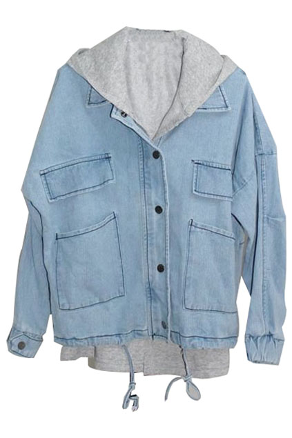 ROMWE | Detachable Two Piece Light-blue Coat, The Latest Street Fashion