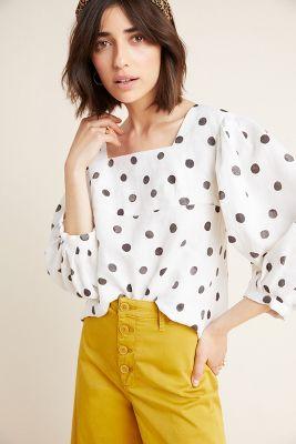 WHIT Polka Dot Linen Blouse