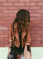 jacket,perfecto,brown perfecto,kamel,leather jacket,fall outfits,fall colors,hipster,tan,brown leather jacket,70s style,boho,boho jacket,cool,brown jacket,suede jacket,brown,curly hair,bag,ripped jeans,black,faux leather,casual,suede,leather,coat,vintage