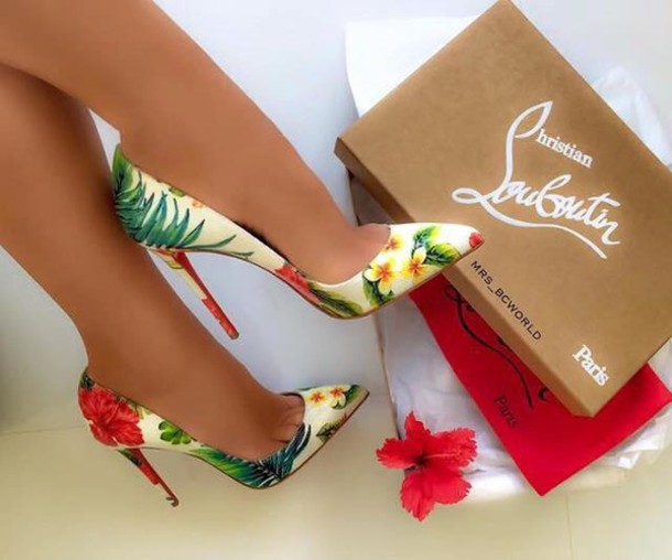 cd078788ec21d4 shoes pumps floral louboutin high heels pointed toe pumps high heel pumps  heels color pumps wedges